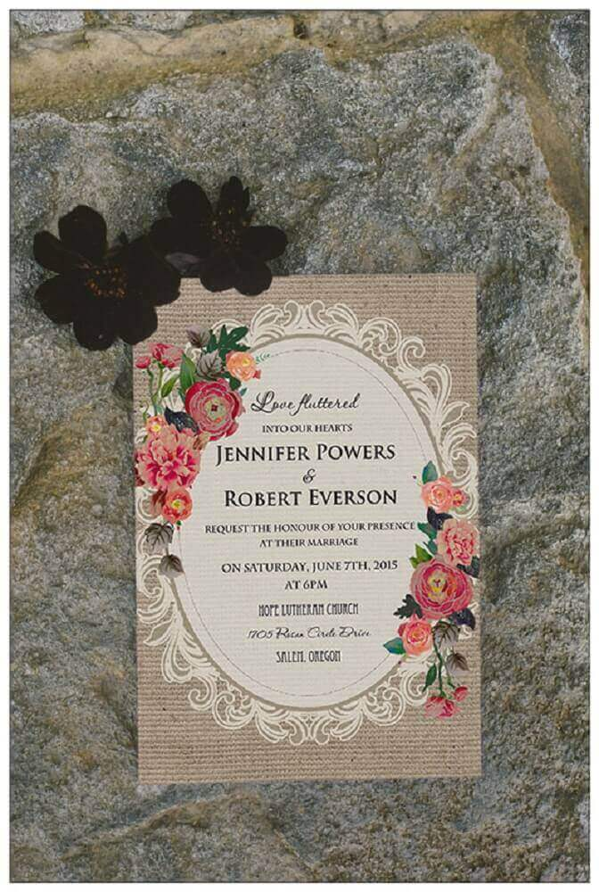 vintage model for simple wedding invitation with flower designs