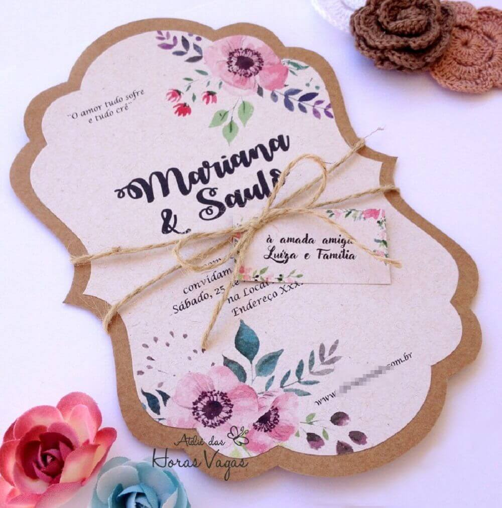 Simple and cheap wedding invitation to do at home