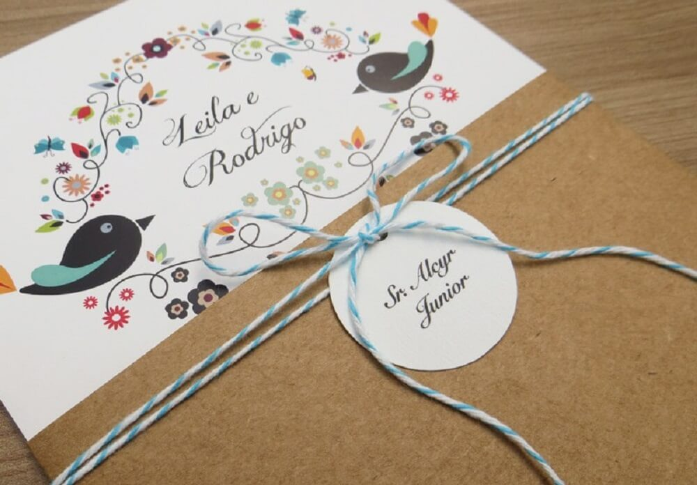 Simple wedding invitation with colorful details