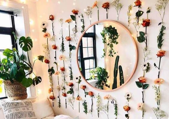 Decoration with artificial flowers at home
