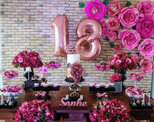 party decoration with paper flowers and natural flowers