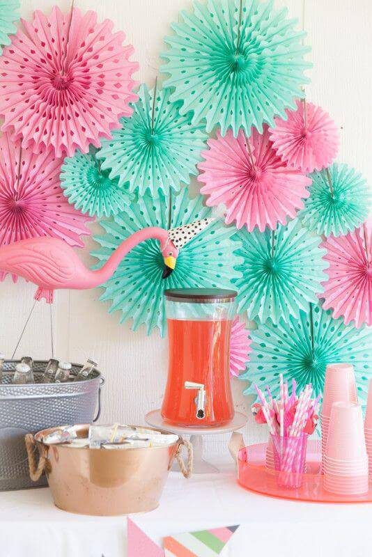 Party decoration with paper flowers
