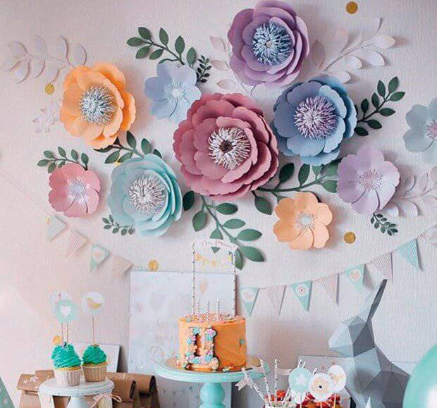 Party decoration with coloured paper flowers