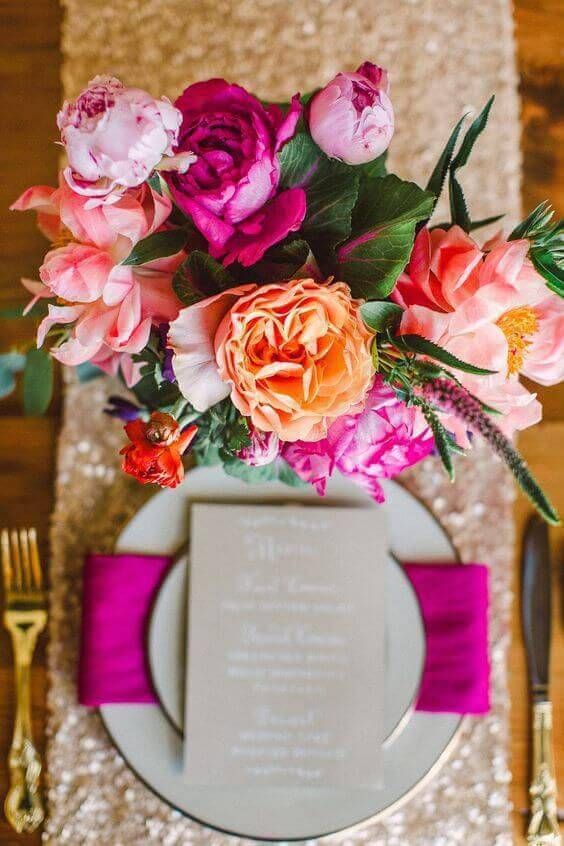 Decoration with pink and orange flowers