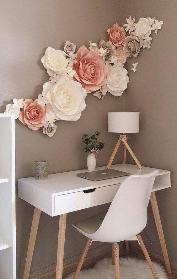Desk with giant flowers on the wall