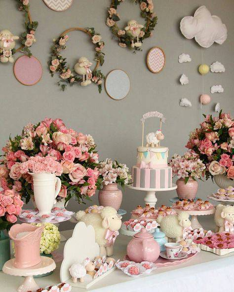 Baby tea decorated with flowers