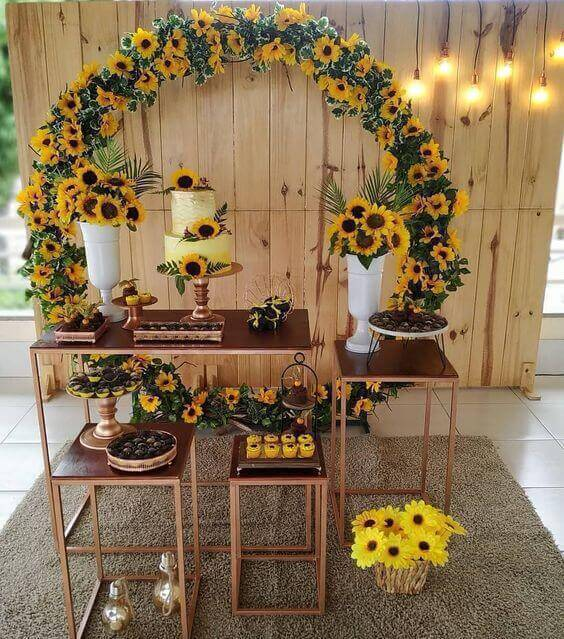 Decoration with sunflowers