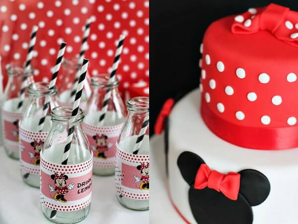 Glass bottles and decorated cake for Minnie red party