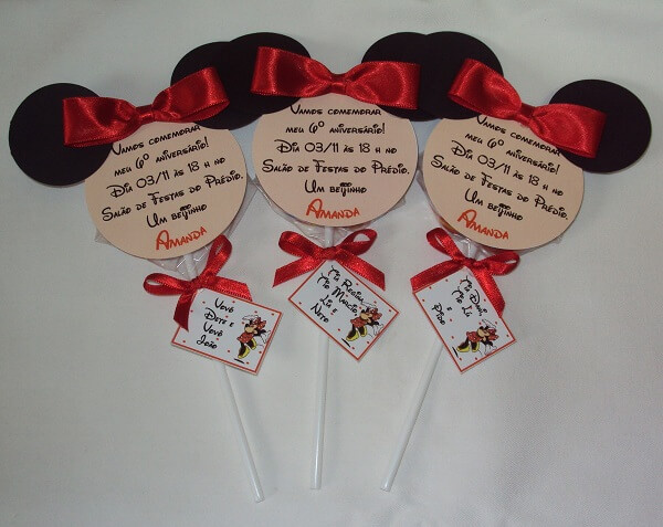 Lollipop invitation to Minnie's party