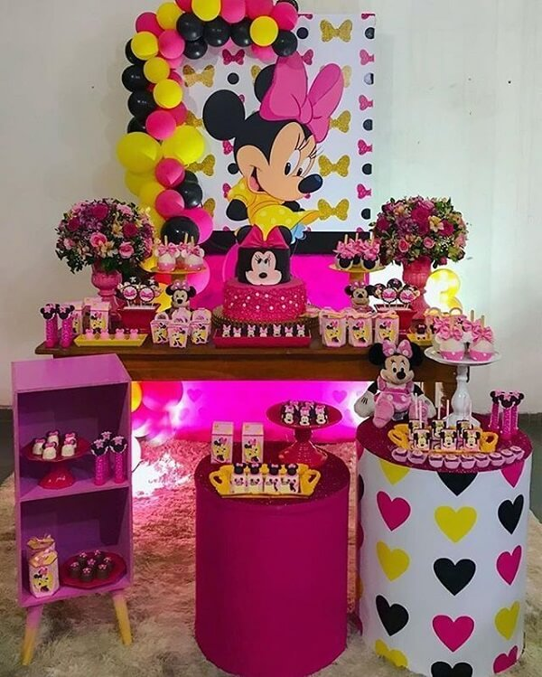 Simple Minnie party in shades of yellow, pink, purple and black