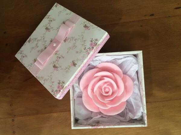 Souvenir of christening with handcrafted rose soap