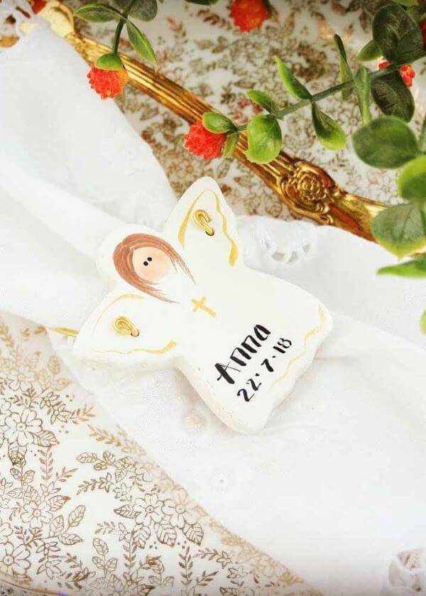 Souvenir of christening on the table placed