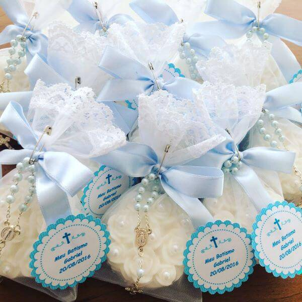 Little souvenir of christening boy with beautiful details