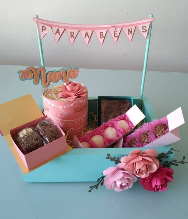 Party in the box with sweets to celebrate the anniversary