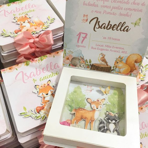 Children's birthday invitation fox and forest animals