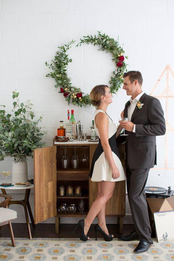 Wedding party at home with space for bar
