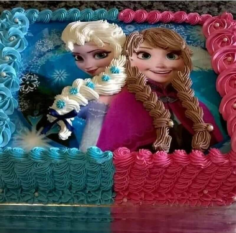 simple blue and pink frozen cake Photo Cake Creativity
