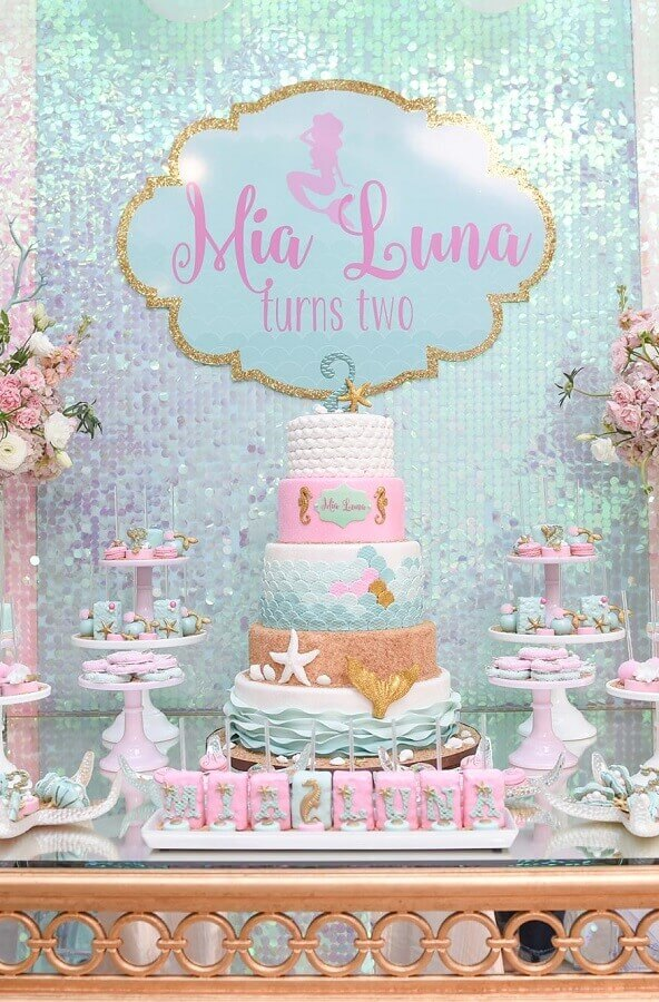 5 floor cake personalized for mermaid party Foto Baby and Breakfast