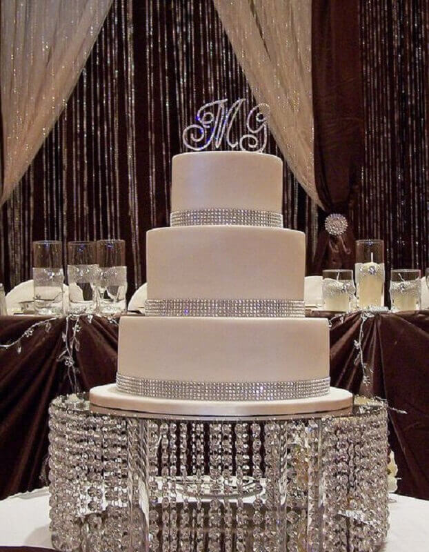 white crystal wedding cake in sophisticated dish Photo 100 Layer Cake