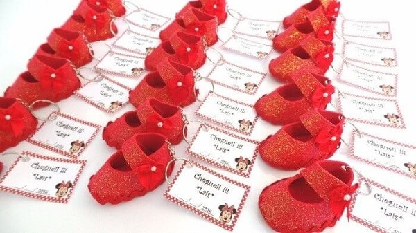 Little red EVA shoe used as a maternity souvenir