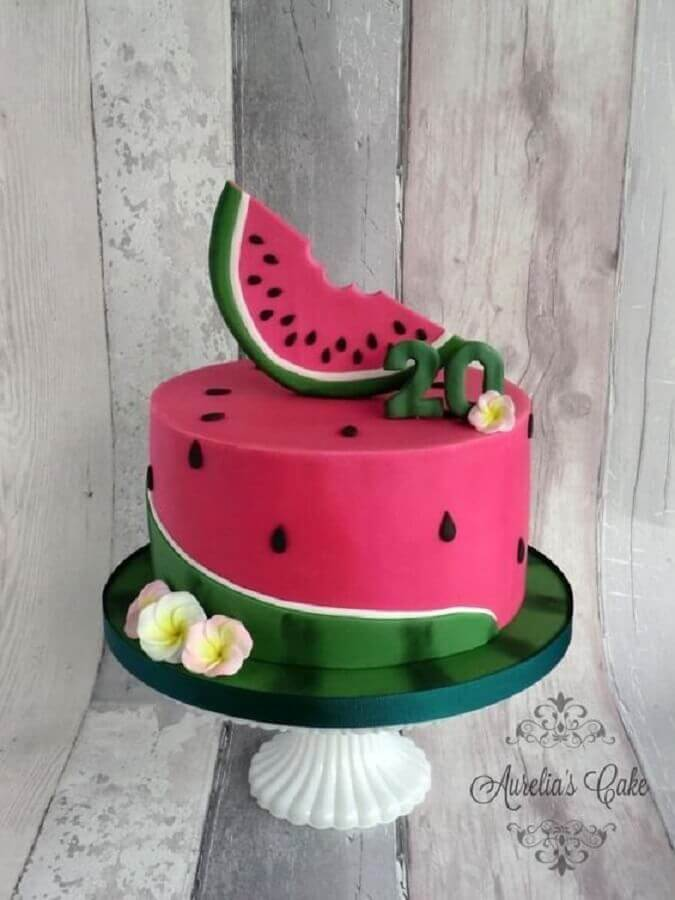 magali party with watermelon decorated cake Foto Aurelia's Cake