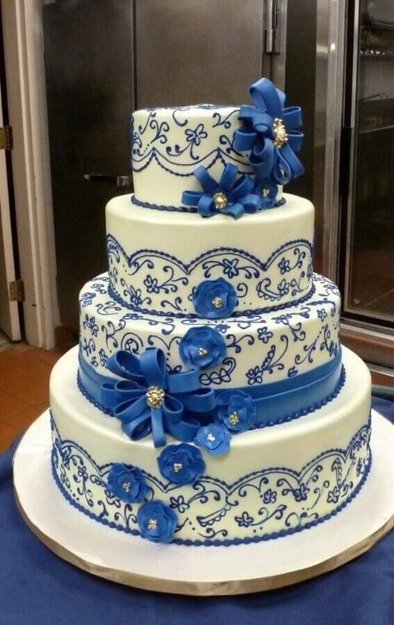 blue and white decorated cake model Foto Pinterest