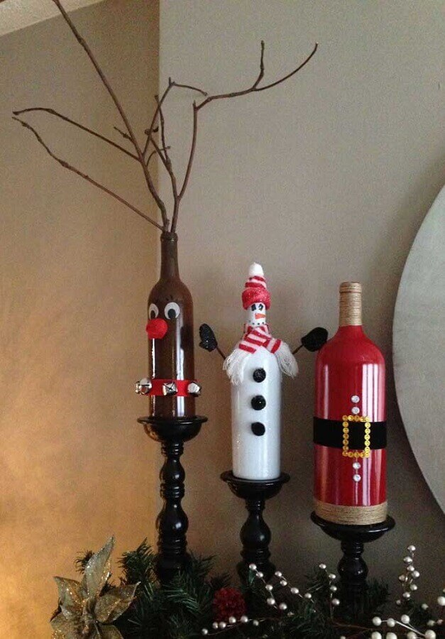 Fun decorated Christmas bottles Foto Pinterest