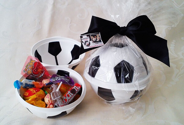 Candy filled ball for party theme soccer souvenirs