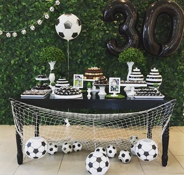 Football theme party ideas with balls everywhere