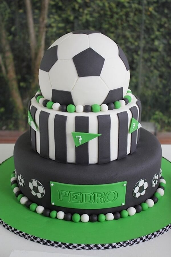 Layered and custom cake for football theme party