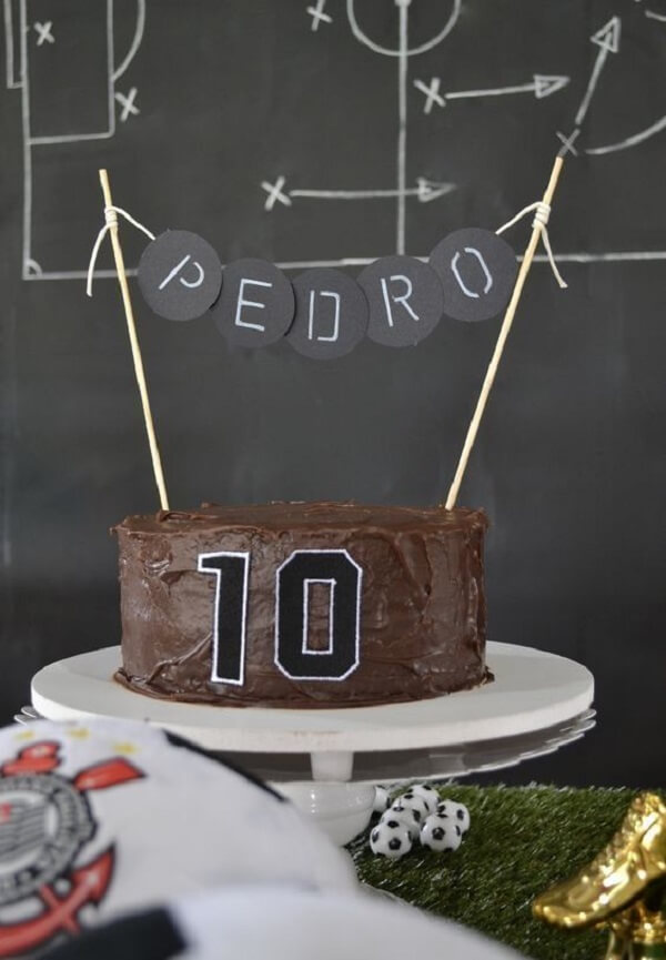 Simple chocolate cake for football theme party