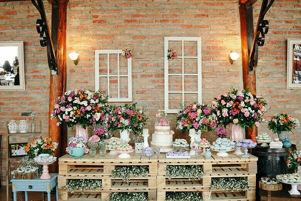 Cake table for rustic wedding