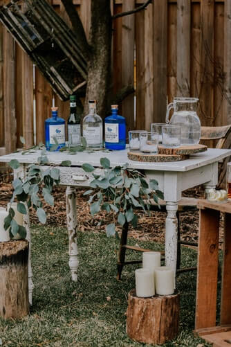 Old wooden furniture for rustic wedding decoration
