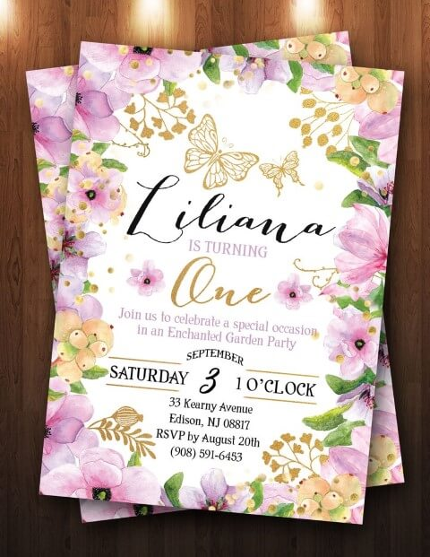 Invitation garden enchanted with purple flower edge with gold Photo by The Purple Monkey Shop