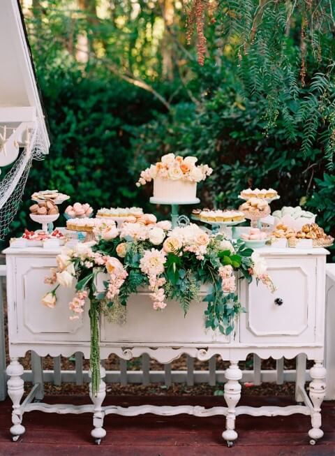 Enchanted outdoor garden party with cake table and sweets Photo by Pinterest