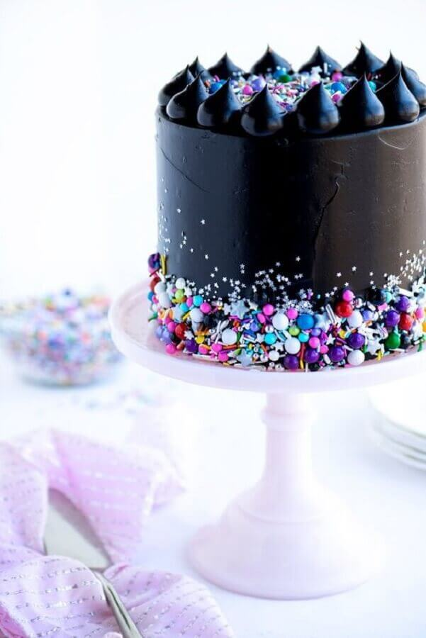 black decorated cake with coloured confetti Foto Air Freshener
