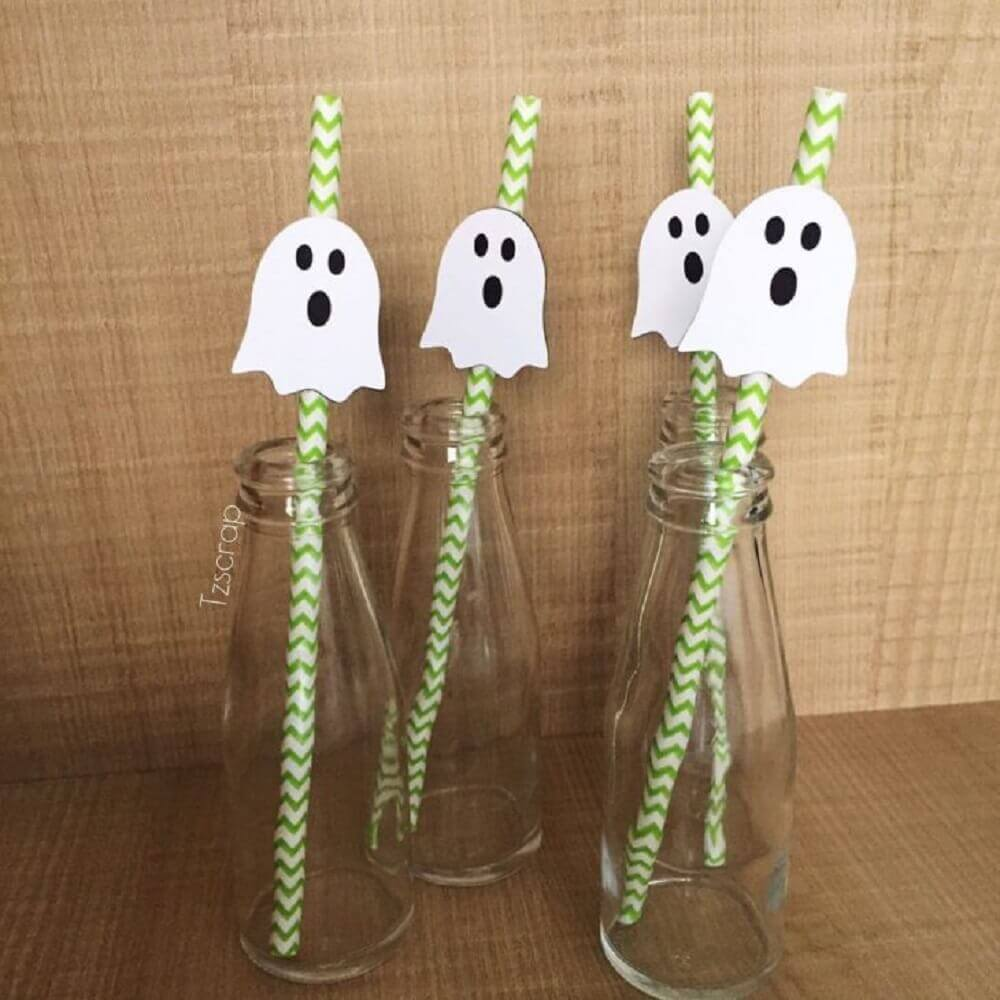 straws decorated with ghosts for halloween party Photo TZSCRAP Stationery