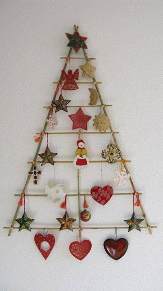 handmade Christmas tree on the wall