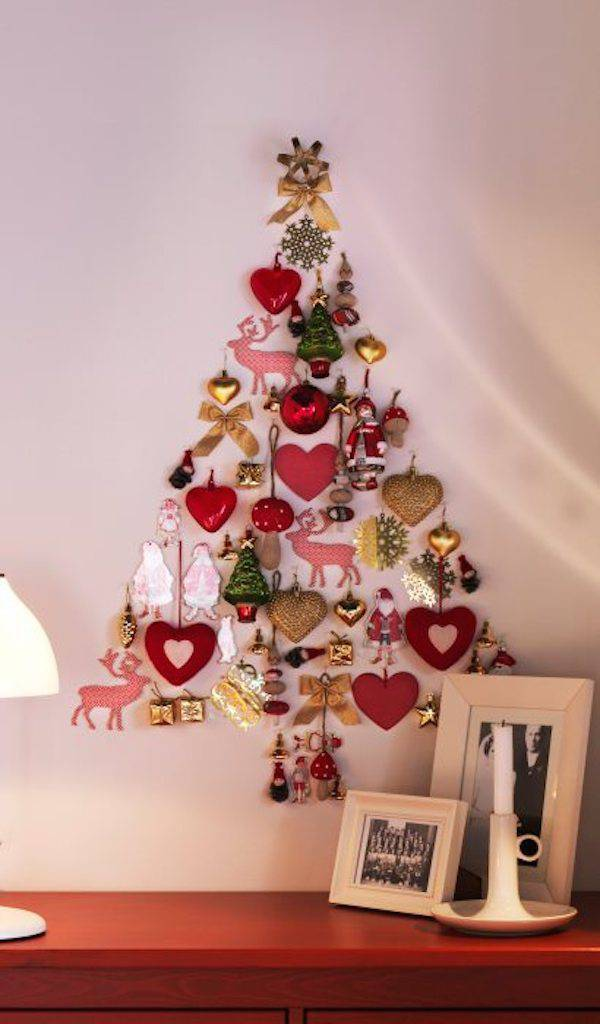 Christmas tree of stickers and decorations