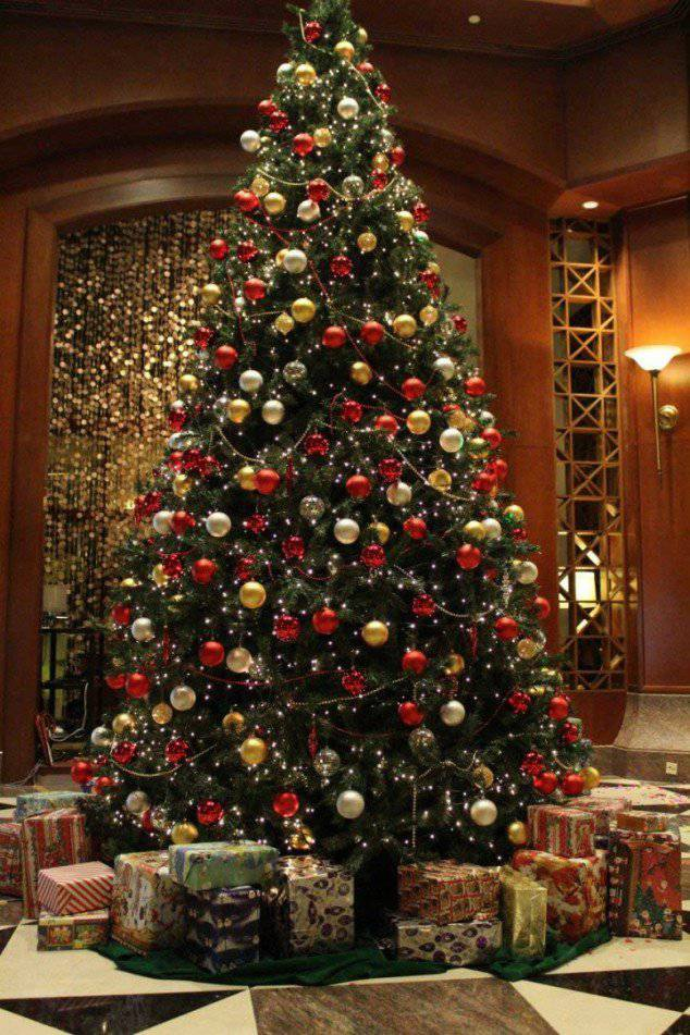 red gold and silver Christmas tree