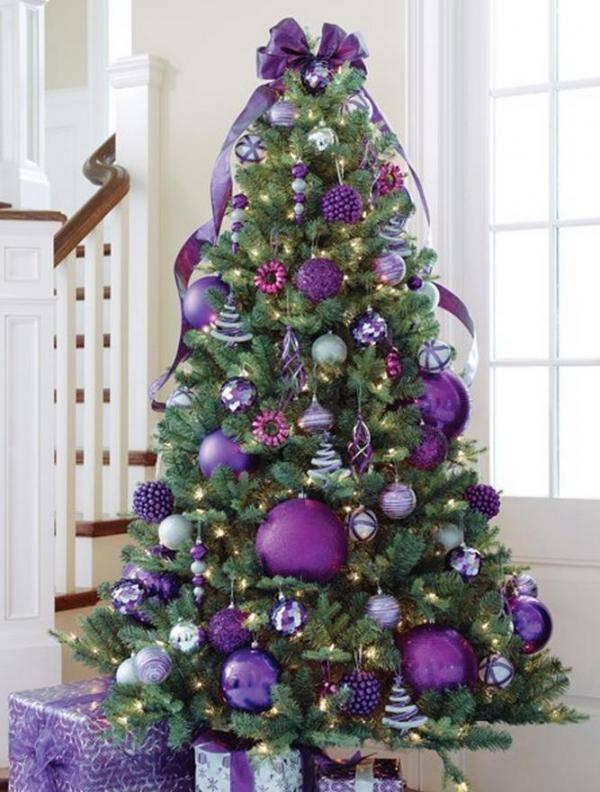 purple Christmas tree and lilies