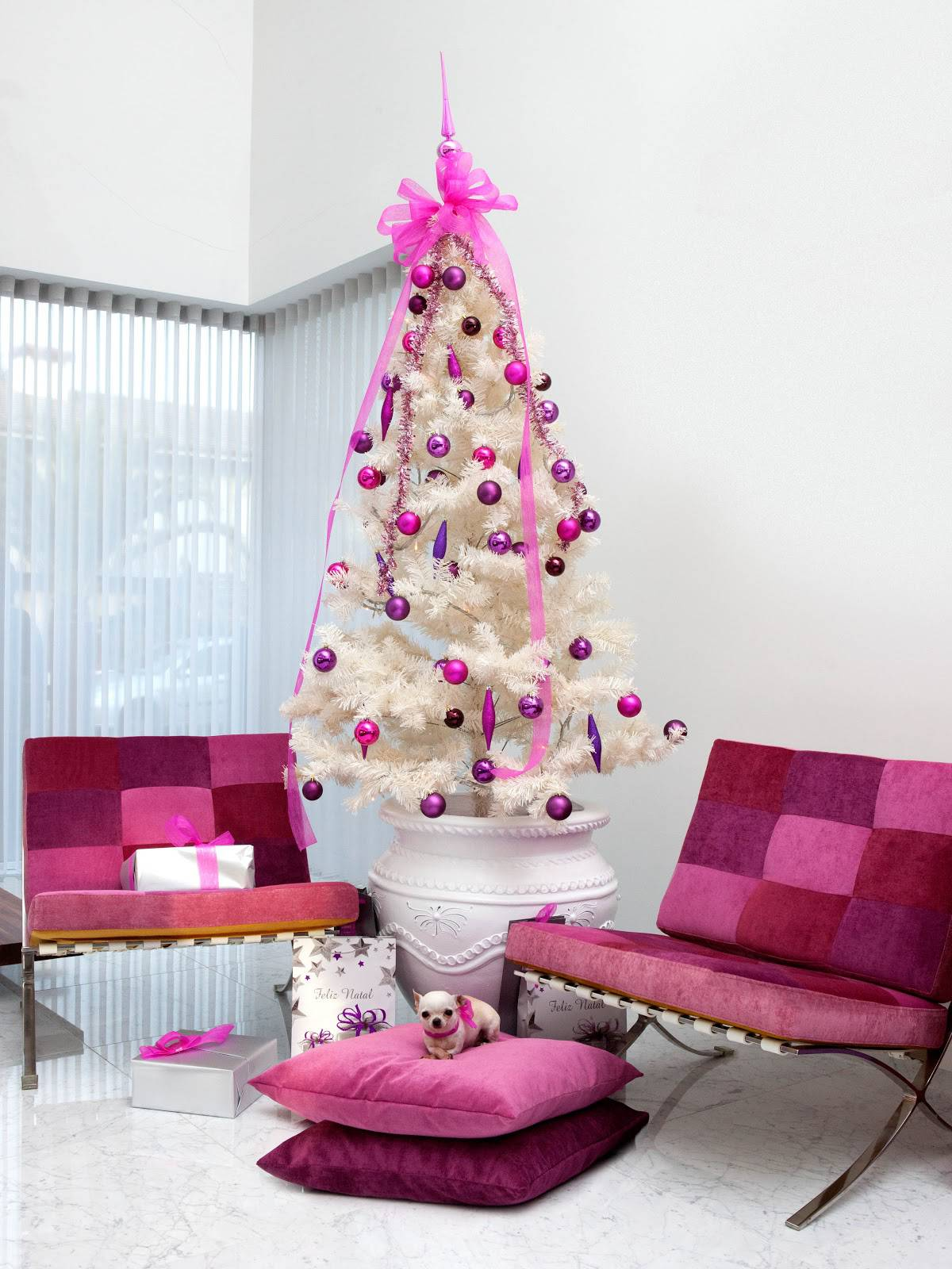white Christmas tree with rose