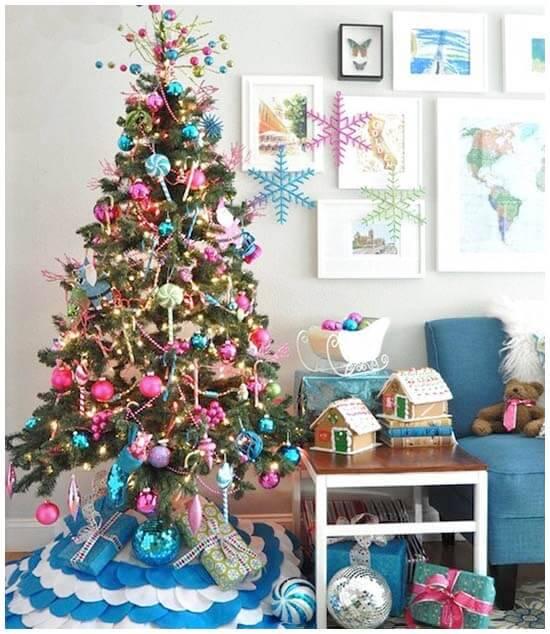 light blue and pink Christmas tree