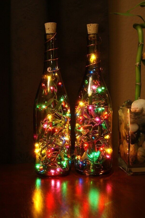 Christmas decorated bottles with flashing colour Photo About House Design
