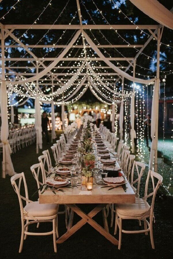 outdoor wedding party the night decorated with blinker Photo Etsy