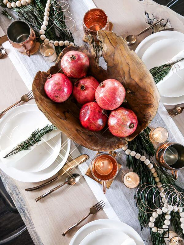 Christmas table decorated with fruit