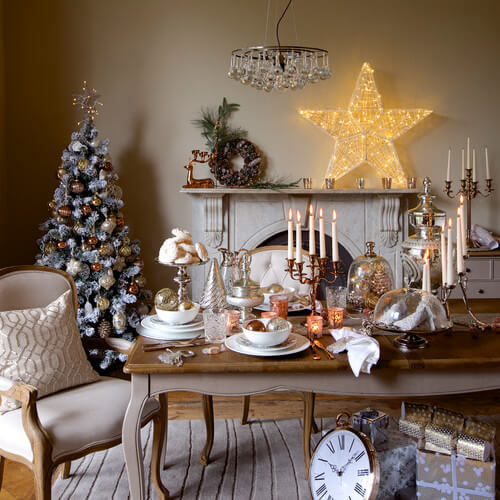Cheap Christmas table decoration with beautiful candles