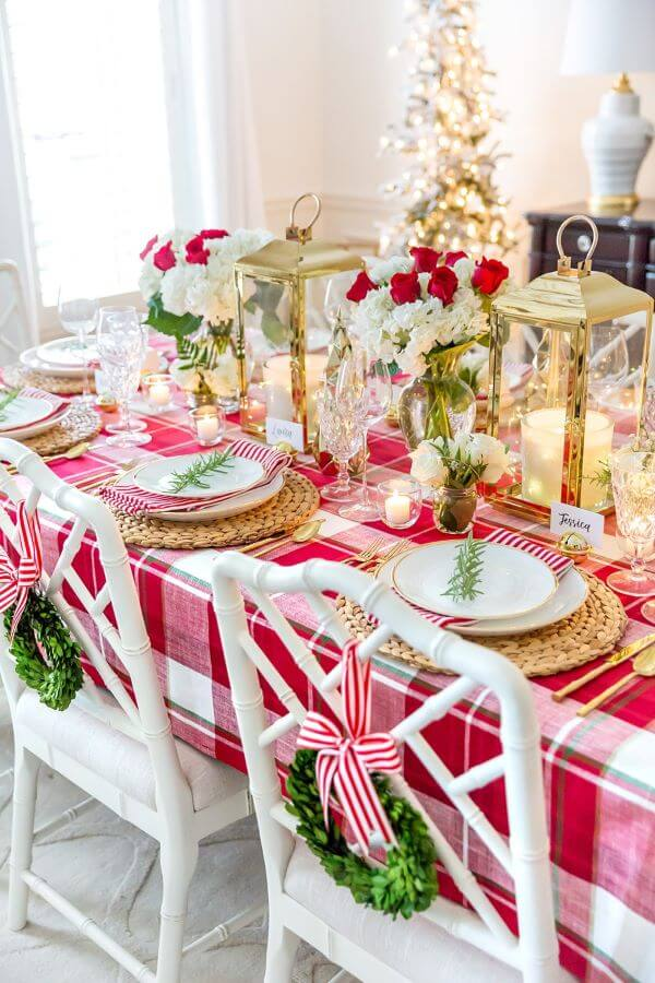 Christmas table decoration with plaid towel