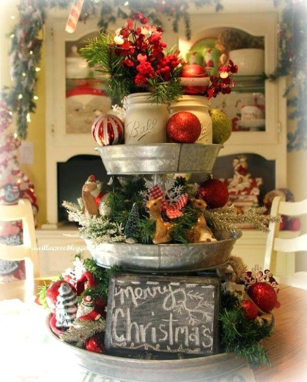 Christmas arrangements for decorated table