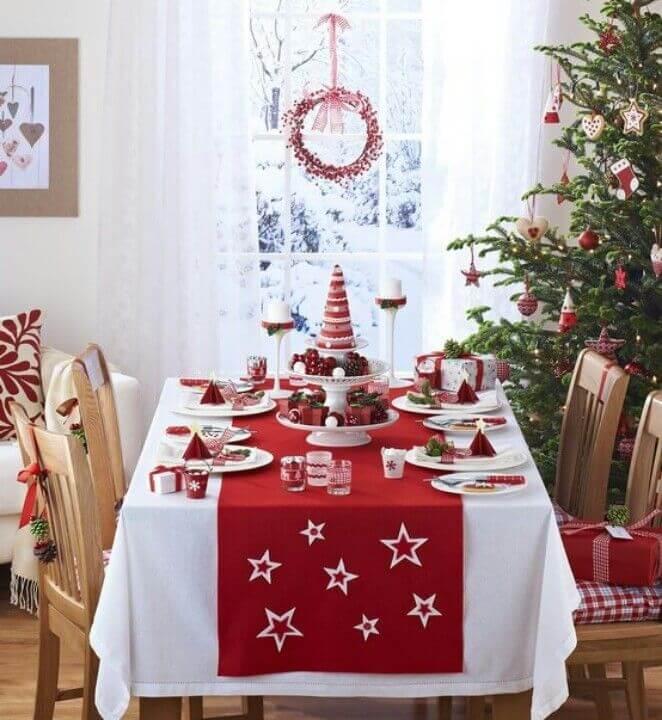 Red Christmas table matching the Christmas tree